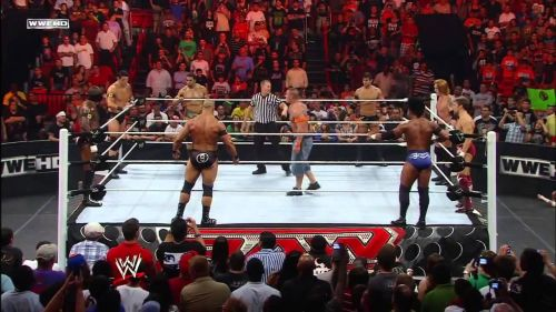 The Nexus surrounded John Cena as they laid waste to everything on Monday Night RAW leaving the crowd stunned.