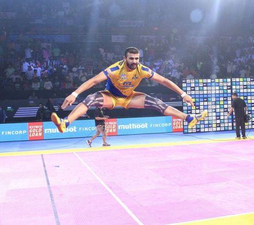 Thalaivas captain had some gravity defying celebrations for his logic defying match winning performance