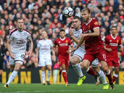 Klavan vies for the ball in Liverpool's clash with Burnley