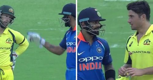 Virat Kohli was seen exchanging words with Matthew Wade and Marcus Stoinis