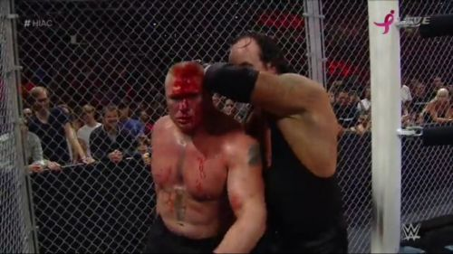 The Undertaker and Lesnar were involved in a bloody war inside HIAC