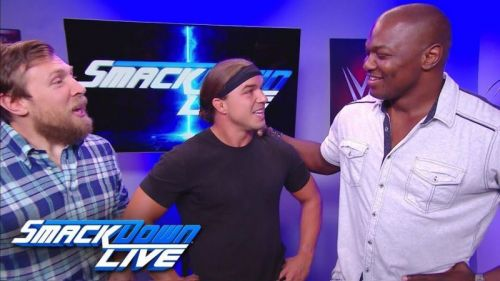 Shelton Benjamin (Right) has returned to the WWE and will team with Chad Gable (Center) on SmackDown Live.