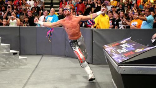 Dolph Ziggler with Ultimate Warrior's paint theme on his face