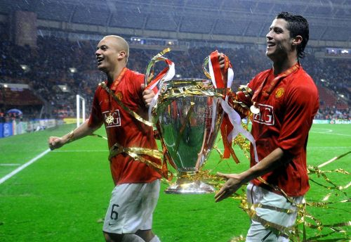Wes Brown and Cristiano Ronaldo