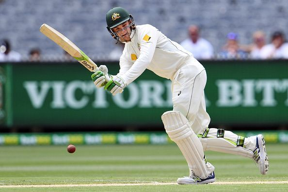 Handscomb uses his feet to good effect against spinners
