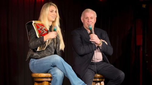 Charlotte and Ric Flair during a meet and greet in Glasgow, Scotland