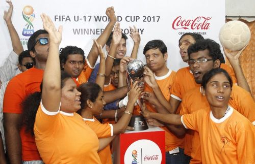 The Blind Football Team got up close with the FIFA U-17 World Cup trophy