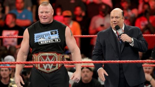 Brock Lesnar with his advocate, Paul Heyman