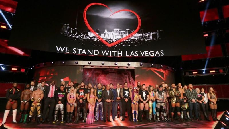 Image result for WWE holds a moment of silence in memory of those lost in the Las Vegas tragedy: Raw, Oct. 2, 2017