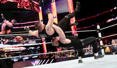 Brock Lesnar beating Kevin Owens in the ring as well records