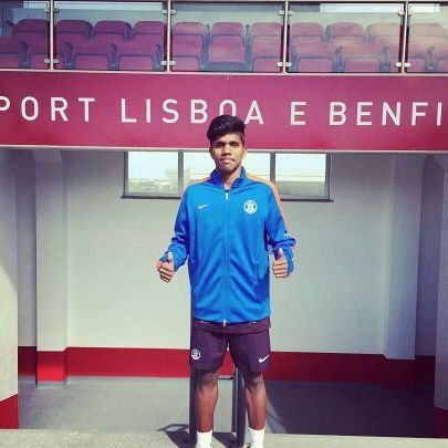 Amarjeet Mishra at Benfica with the India U17 team