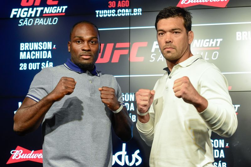Brunson(left) and Machida at a UFC Sao Paulo press conference