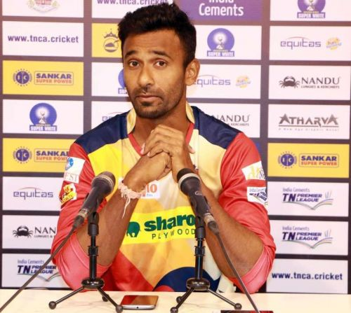 Yomahesh interacts with the media earlier this year ahead of the TNPL.