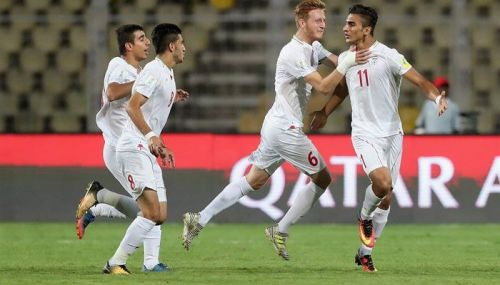 Iran players celebrate a goal vs Mexico (image source: Zee News)