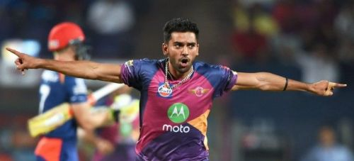 Deepak Chahar in action for Rising Pune Supergiant