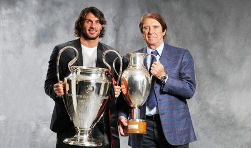 Father son footballers Paolo Maldini Cesare