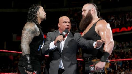 Kurt Angle will be facing Braun Strowman in the ring this Sunday, after he replaces Roman Reigns