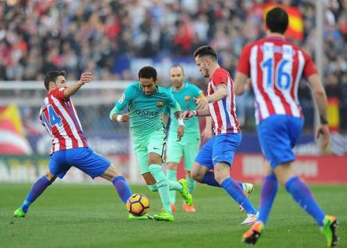 Atletico players working hard to regain possession