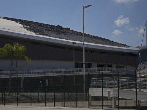The charred roof of the velodrome in Olympic Park (Image Courtesy: Associated Press)