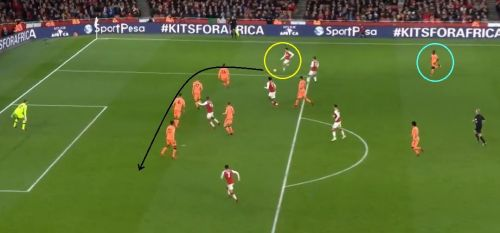 Bellerin (circled yellow) found space and time to pick Sanchez out as Mane (circled blue) lost concentration and didn't follow him.