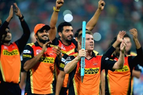 Sunrisers Hyderabad players celebrating after winning the title in 2016