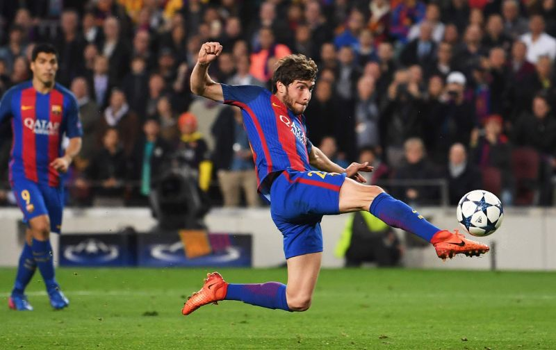 Sergi Roberto scoring the final goal in Barcelona's 6-1 triumph aganst PSG