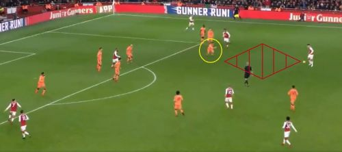 Milner (circled yellow) was drawn out-wide and gave Xhaka too much space (red shaded area) in the final third to go for goal.
