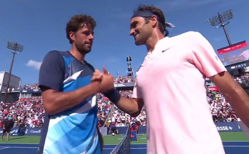 Haase and Federer interact after the game