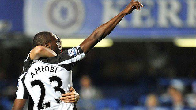 Shola Ameobi celebrates after scoring the winner