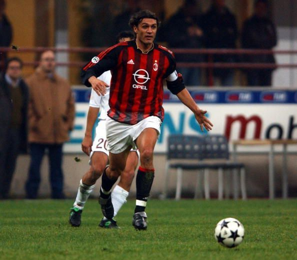 Paolo Maldini of AC Milan in action