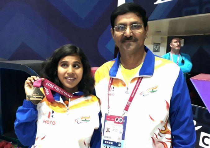Kanchanmala Pande after winning gold at the World Para-Swimming Championship.