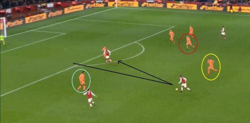 It was too late for Milner (circled red) and Can (circled yellow) to track-back and stop the attack.