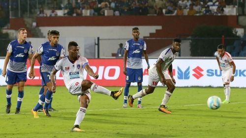 Kalu Uche scored his first goal of the season against Bengaluru (Image: ISL)