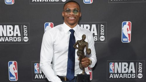 Russell Westbrook posing with the MVP trophy. (Image courtesy: herald.sun.au)
