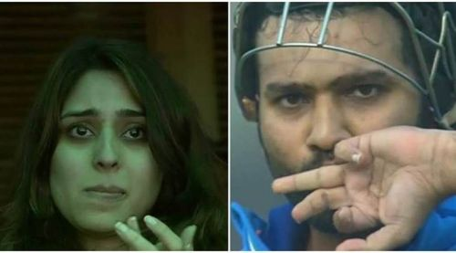 Ritika had her fingers crossed as Rohit approached his 3rd double ton.