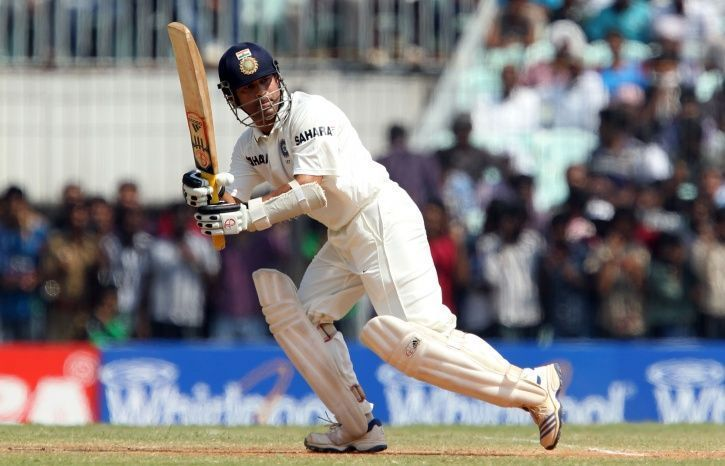 Tendulkar flicks one against the West Indies