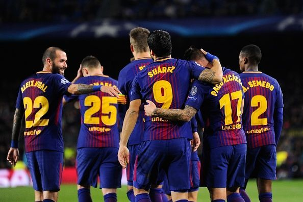 The Barca Players Celebrate Their Opening Goal