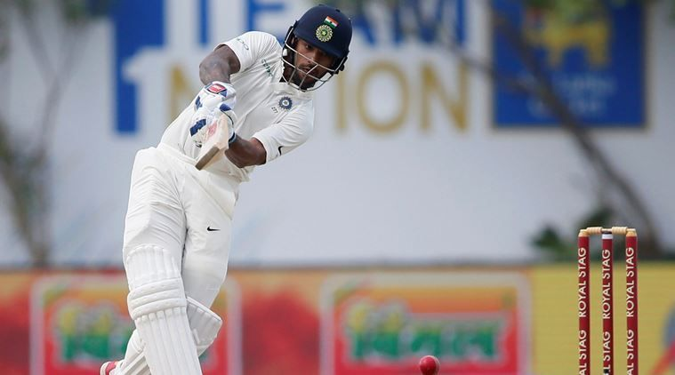 Dhawan comes down the pitch.