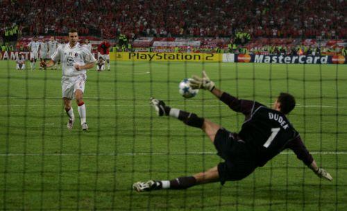 Jerzy Dudek saving Andriy Shevchenko's penalty. Image courtesy talkSPORT