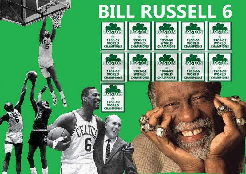 Bill Russell With His 11 Won NBA Championship Rings