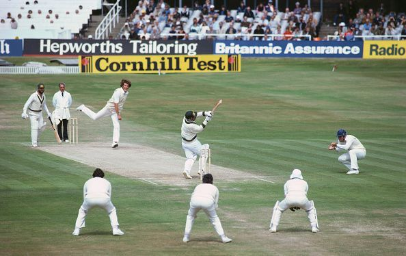 Bob Willis in action against Australia at Headingley in 1981