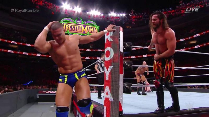 Seth Rollins and Jason Jordan at the Royal Rumble