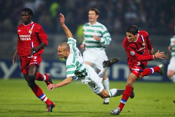 Henrik Larsson of Celtic is fouled