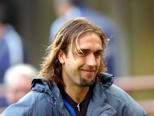 A portrait of Gabriel Batistuta of Inter Milan