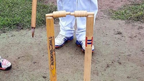 Imagine if you were bowling and this is how the stumps looked after you beat the batsman! NOT OUT!