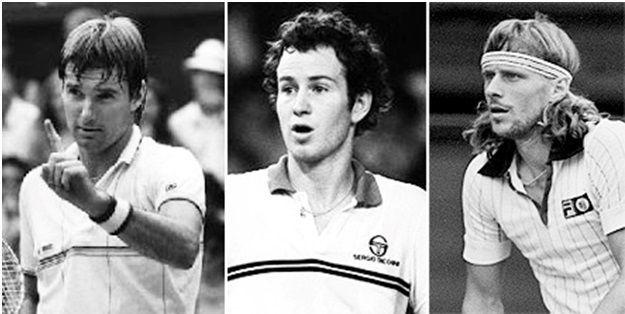 (L:-R) Jimmy Connors, John McEnroe, Bjorn Borg