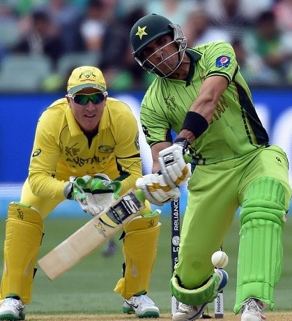 Out, but not out! Misbah survived a scare against Australia during the 2015 World Cup Quarter-Final