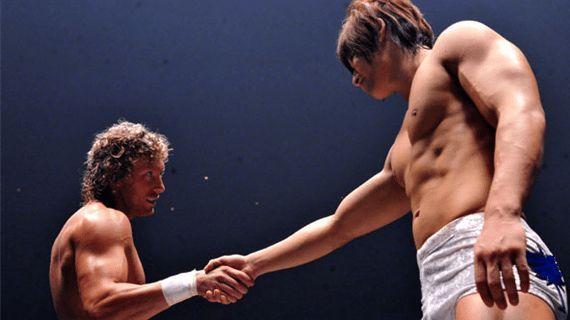 Kenny Omega shaking the hand of his former Tag team partner, Kota Ibushi.