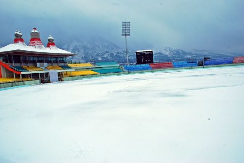 Image result for dharamsala cricket ground image in winter