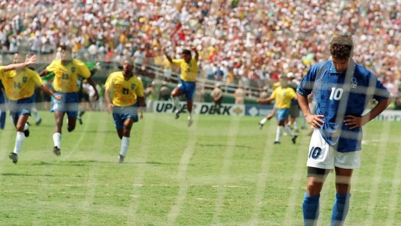 Baggio rooted to the spot after missing his PK